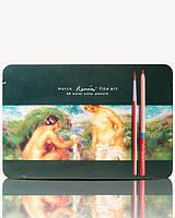 Цветные карандаши Fine Art Aqua-48TN 48 цветов акварельные в металлическом пенале MARCO (уп3\18)