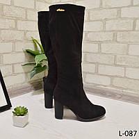 Сапожки на удобном каблучке размер 35 черные замш, женская обувь, фото 1