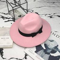 Шляпа женская фетровая Федора с устойчивыми полями и бантиком розовая, фото 1