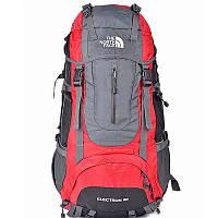 Туристический женский рюкзак The North Face 60L красного цвета