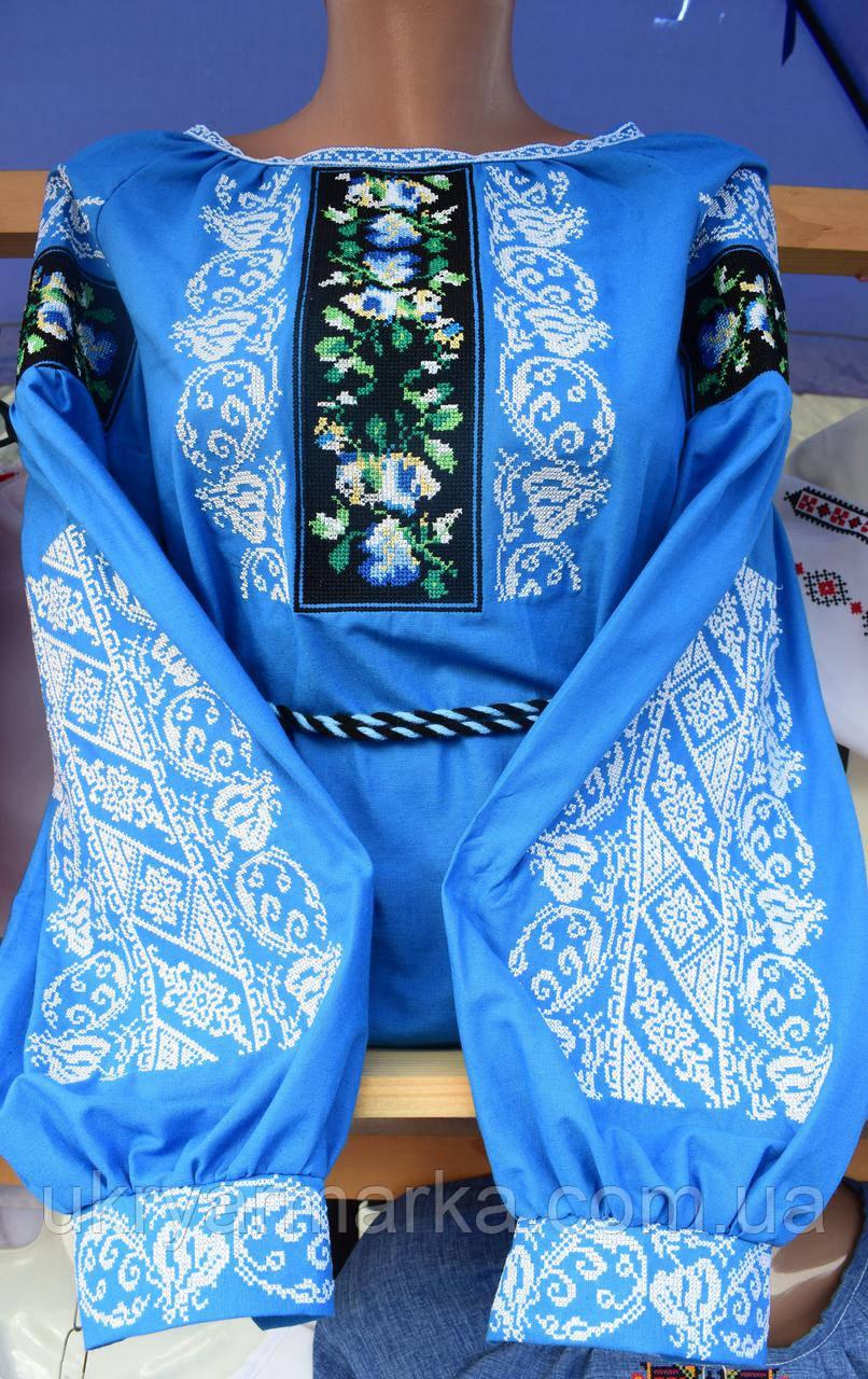 """Блузка з вишивкою """"Казкова""""блакитна"""