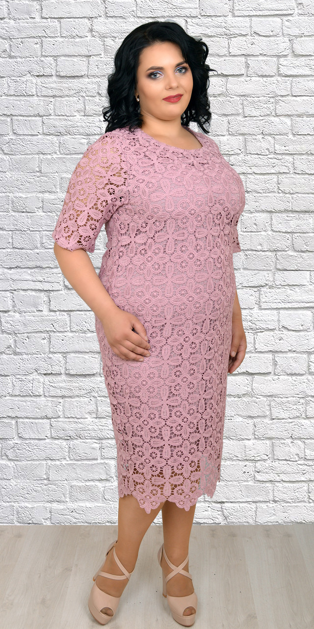 675837e25fe Женское платье с кружевом макраме больших размеров