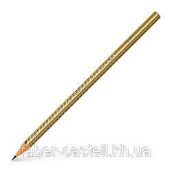 Карандаш чернографитный Faber-Castell Grip Sparkle золотой корпус, 118337