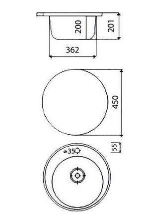 Мойка керамогранит GRAND круглая 45/300 коричневый КАМЕНЬ, фото 2