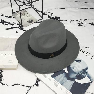 Шляпа женская фетровая Федора с устойчивыми полями и лентой серая
