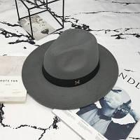 Шляпа женская фетровая Федора с устойчивыми полями и лентой серая, фото 1