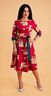 Модне плаття з квітковим малюнком бордове, фото 1