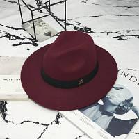 Шляпа женская фетровая Федора с устойчивыми полями и лентой бордовая (марсала)