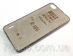 Чехол для Huawei Honor 6 силиконовый ультратонкий прозрачный серый