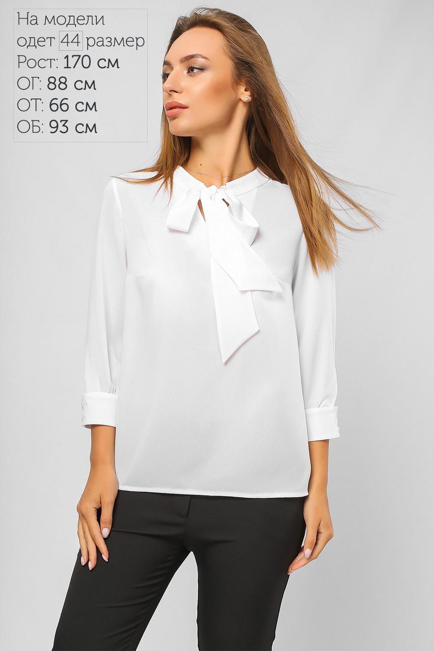 Нарядная белая блуза шифоновая с бантом