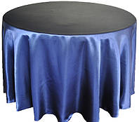 Скатерть круглая атласная темно синяя Atteks 145 см - 1403