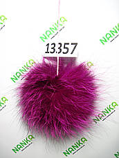 Меховой помпон Чернобурка, Фуксия, 12 см, 13357, фото 3