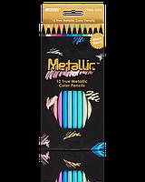 """Цветные карандаши Metallic 12 цветов №5101B-12CB """"MARCO"""" (уп12\240)"""