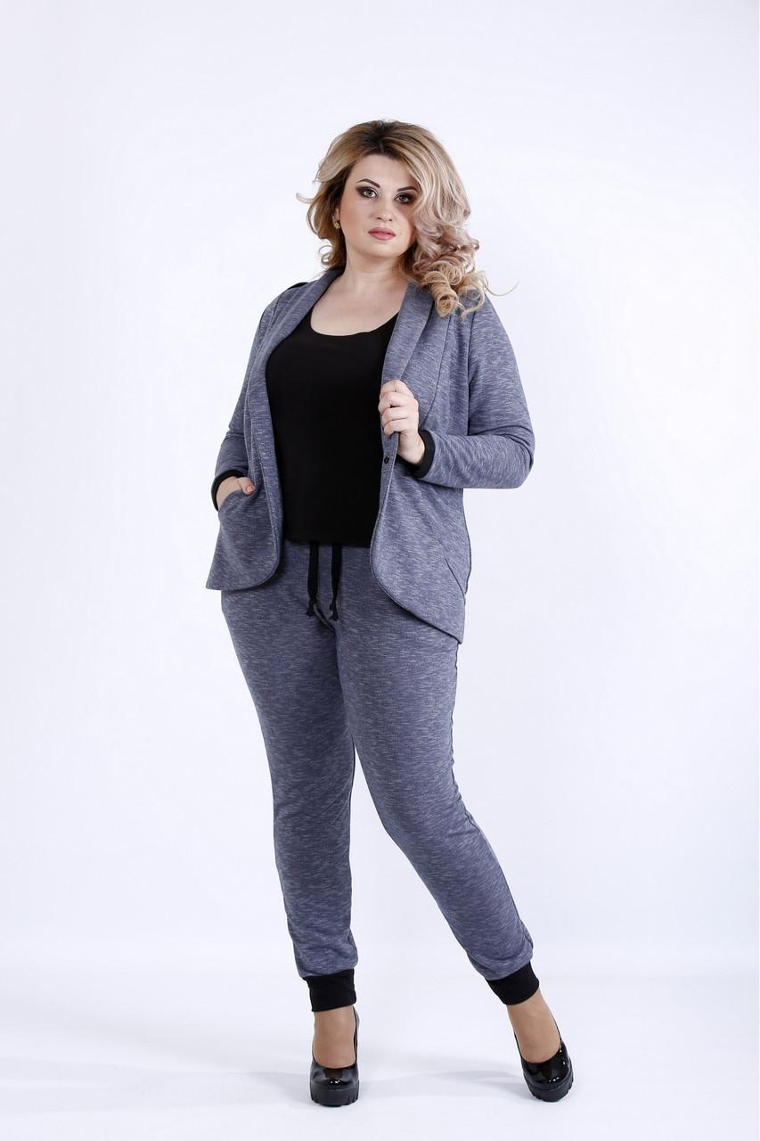 6473df7d561 Синий костюм жакет и брюки для полных девушек