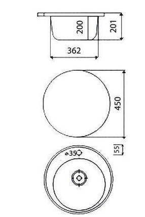 Мойка керамогранит GRAND круглая 45/85 светло-бежевый КАМЕНЬ, фото 2