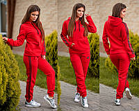 Женский модный спортивный костюм на флисе красный, фото 1
