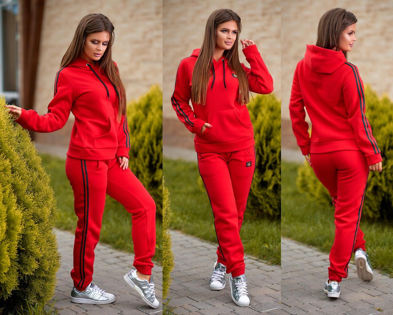 17268c6b Женский модный спортивный костюм на флисе красный: продажа, цена в ...