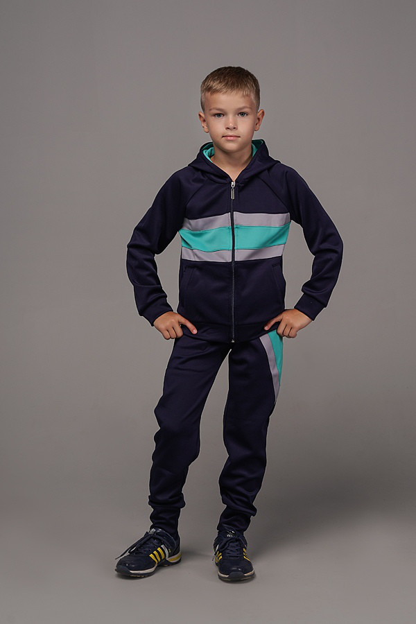 Спортивный детский костюм для мальчиков темно-синий с мятными вставками