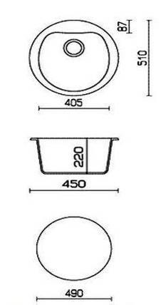Мойка керамогранит GRAND круглая 51/312 серо-бежевый камень, фото 2