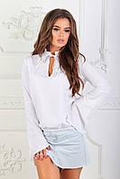 Белая женская блузка длинный рукав-клеш