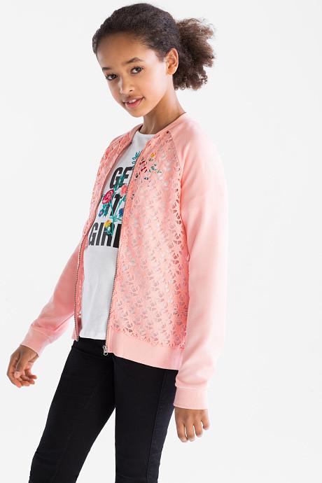 Розовая кофта на молнии с кружевом  для девочки C&A Германия Размер 146-152