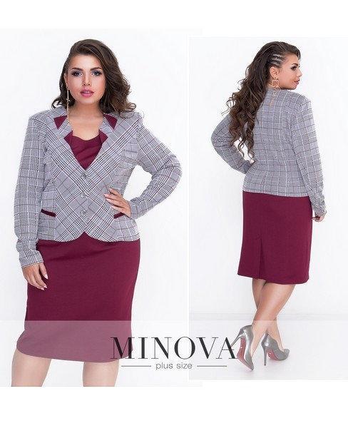 Женский костюм платье и пиджак трикотаж размер 52 54 56 58