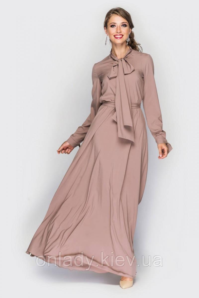 607aa7d4cfddbea Бежевое платье в пол на длинный рукав (S), цена 1 499 грн., купить в ...