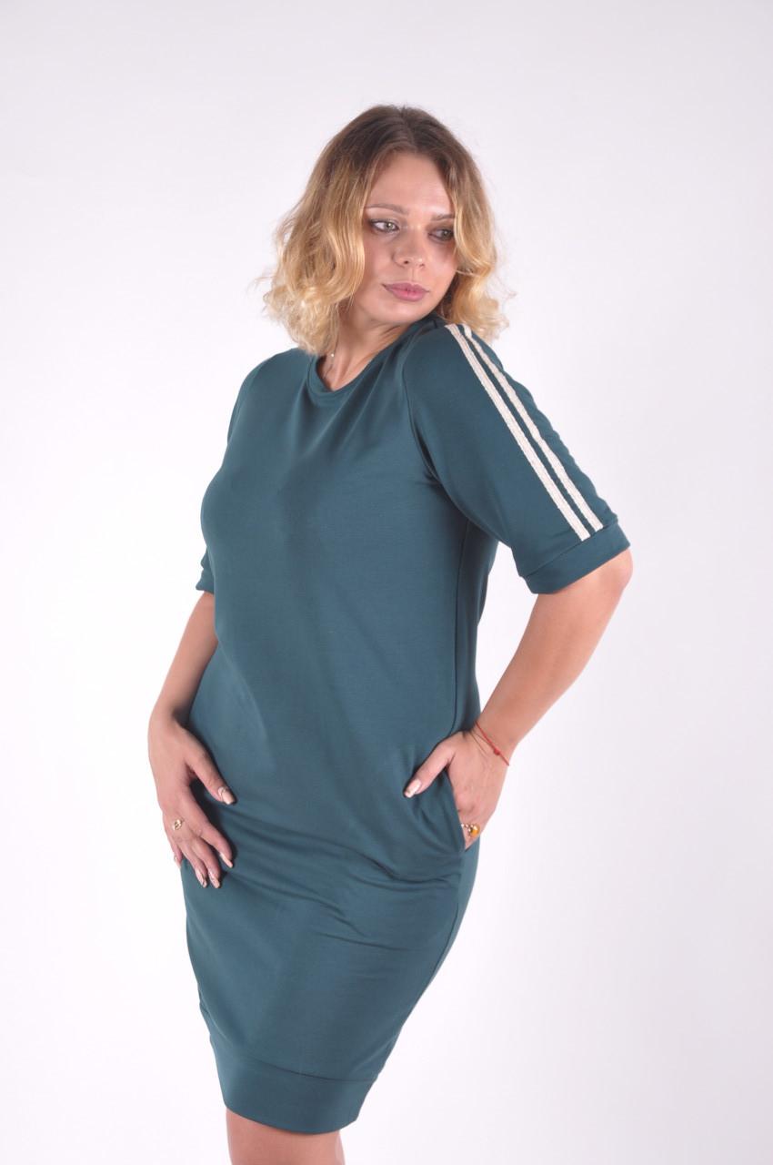 Женское платье зеленое трикотажное с лампасами размеры 40 -46