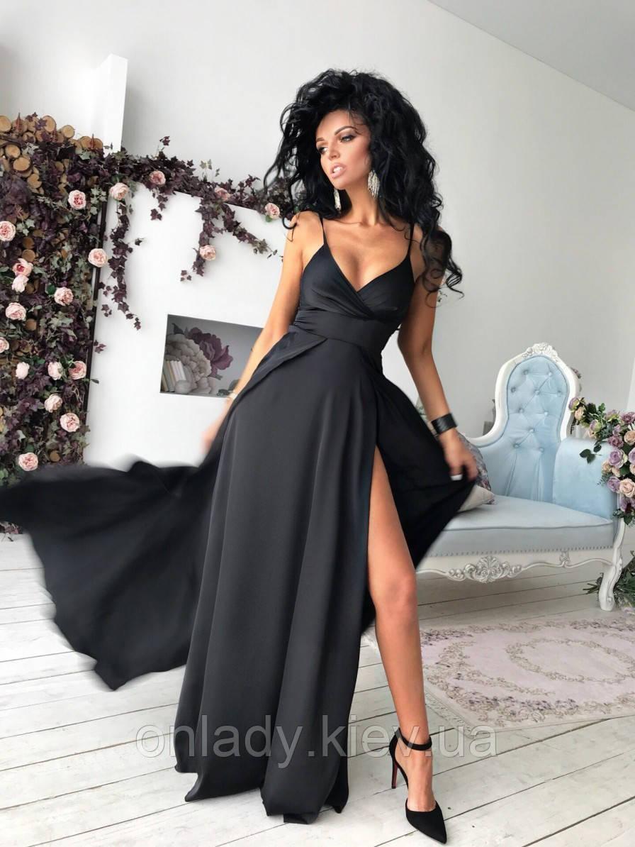 70ef0f54d09337d Нарядное платье в пол с открытым декольте в соблазнительном черном цвете  (S/M), цена 1 399 грн., купить в Киеве — Prom.ua (ID#751547281)
