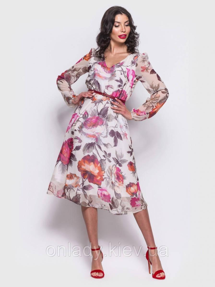 093e3e97be2 Летнее шифоновое платье до колена на длинный рукав (XL) - Интернет-магазин