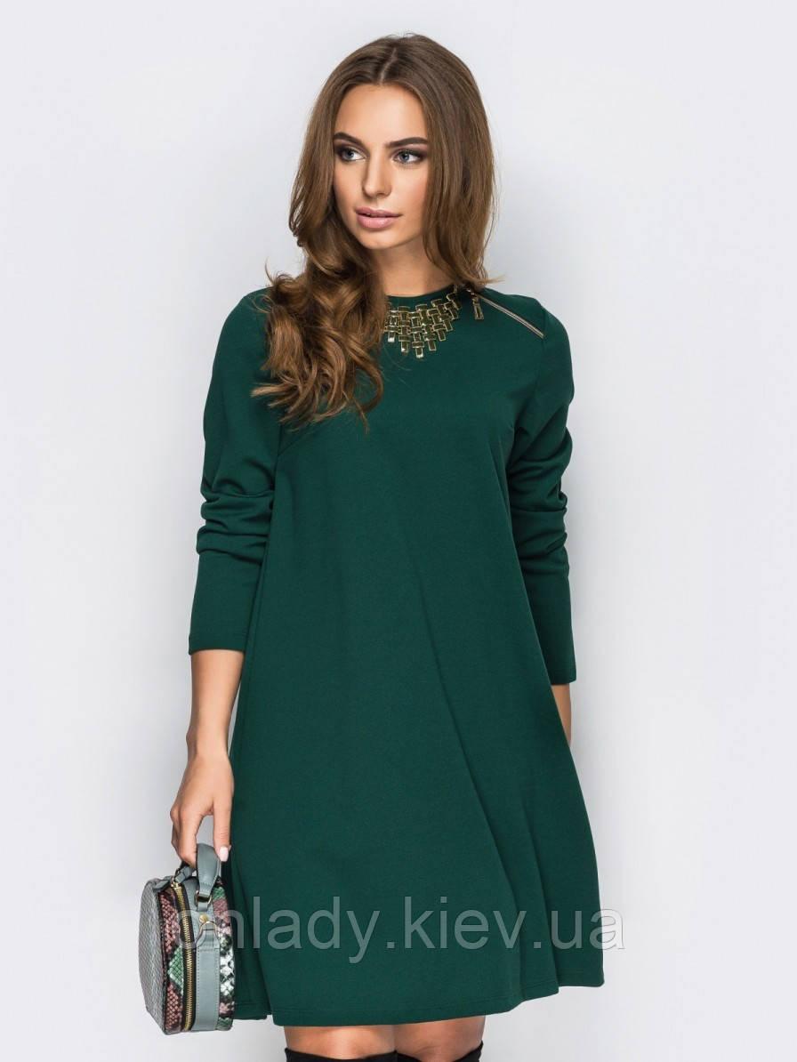 8669e7323f2 Зеленое платье-трапеция с длинным рукавом (M) - Интернет-магазин