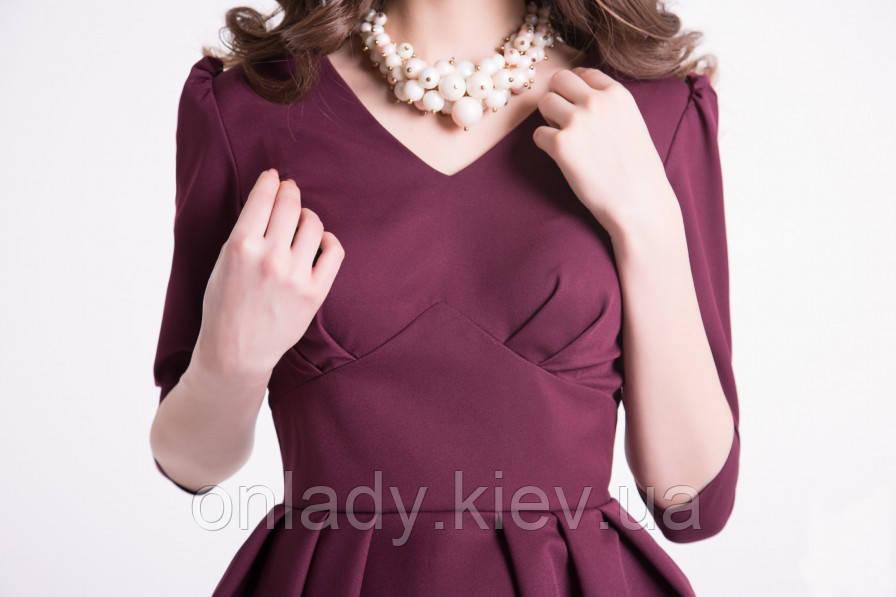7b231957f83 Бордовое коктейльное короткое платье с пышной юбкой (S) - Интернет-магазин