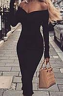 Черное приталенное платье с открытыми плечами (S/M)