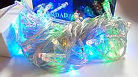 Гирлянда на белом шнуре с цветными светодиодами (100)