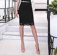 Красивая юбка из набивного гипюра с фистоном, черная
