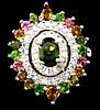 """Шикарный перстень с  турмалинами, хромдиопсидом  """"Глаз"""", размер 18,2  от студии LadyStyle.Biz"""