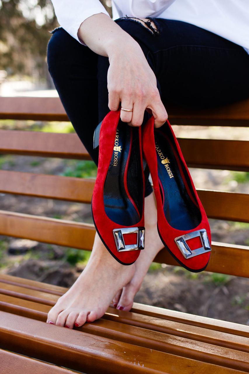 Замшевые женские туфли Marko Rossi 643 красн