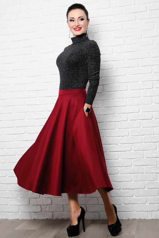65d75dbc927 Женская расклешенная юбка миди  Мелисса  до р.60
