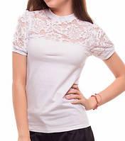 Школьная блуза с гипюром для девочки. Блуза школьная трикотажная.  Трикотажная блуза для школы 2979c5db03268