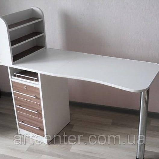 Стол для маникюра, маникюрный стол с тумбой и полочками для лака