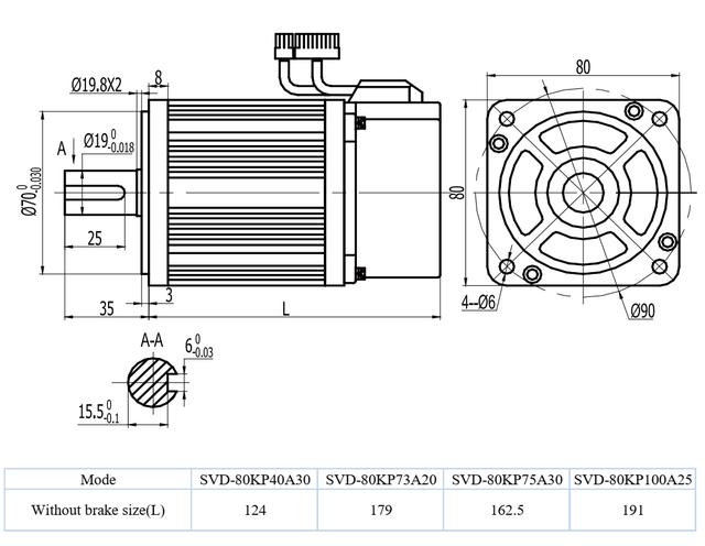 Комплектный сервопривод SVD100-75A-2 750 Вт 3000 об/мин 2,4 Нм фланец 80 мм 220В энкодер 17 бит