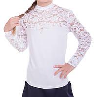 Школьная блуза с гипюром для девочки. Блуза школьная трикотажная.  Подростковая блуза для школы 3ccec61970f4d