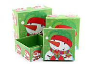 Подарочная коробка новогодняя Снеговик с подарком