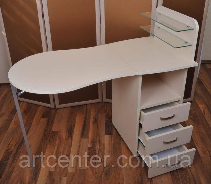 Стол для маникюра, маникюрный стол с стеклянными полочками под лак