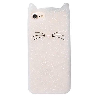 Чехол накладка на iPhone 5/5s/se белый перламутровый котик