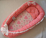 Кокон гнездышко с ортопедическим матрасом для новорожденных ( Сердечко)
