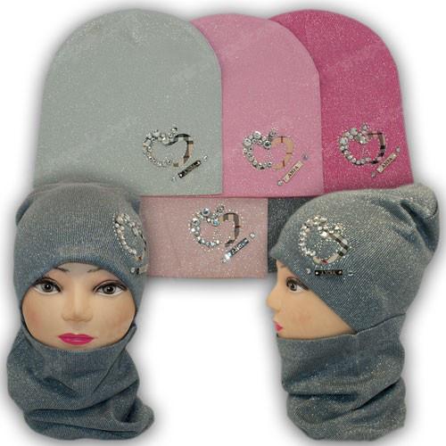 Вязанная шапка c хомутом  для девочек, р. 50-52