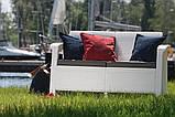 Софа двомісна зі штучного ротангу CORFU LOVE SEAT білий (Allibert), фото 4