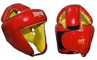 Шлем боксерский открытый с усиленной защитой макушки Кожа MATSA