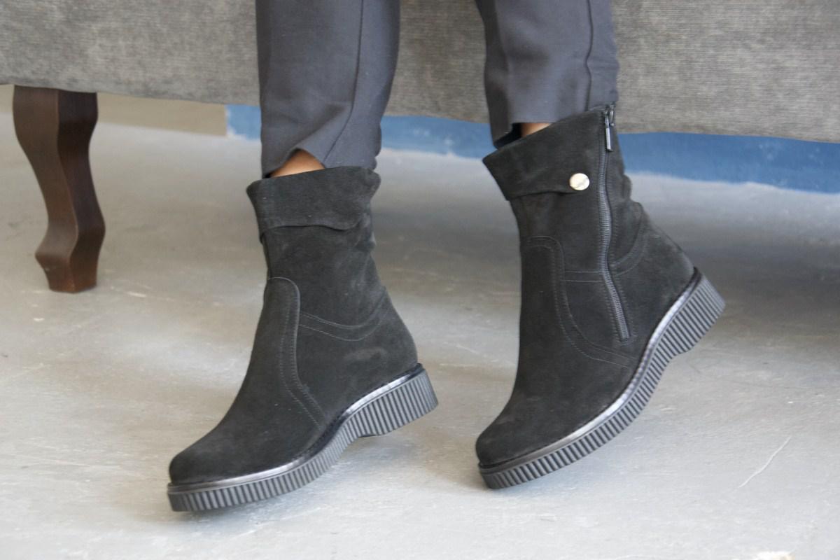 Ботинки из натуральной черной замши №191-2